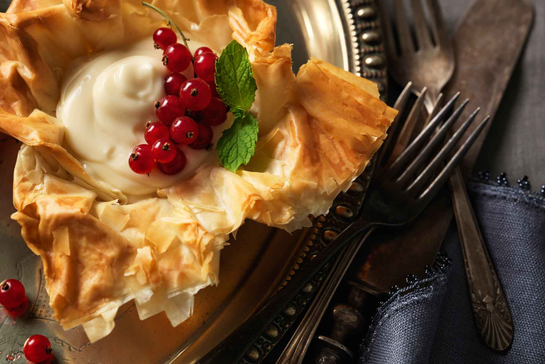 Custard in phyllo pastry